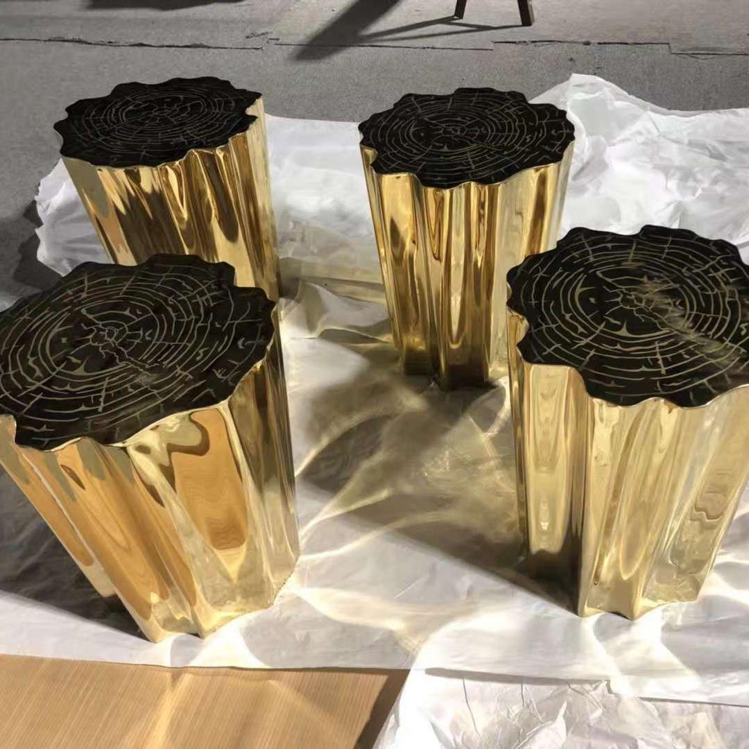 钛金不锈钢树凳-不锈钢制品